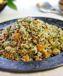 rice and lentil pilaf with apricots and feta